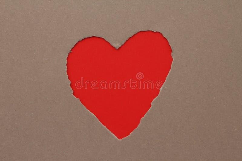 在纸的被撕毁的心脏 库存照片