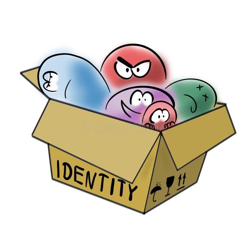 在纸盒箱子的分离的身分混乱 皇族释放例证