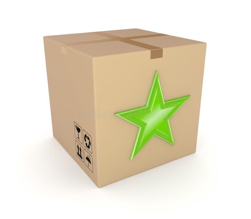 在纸盒配件箱的绿色星形。 库存例证