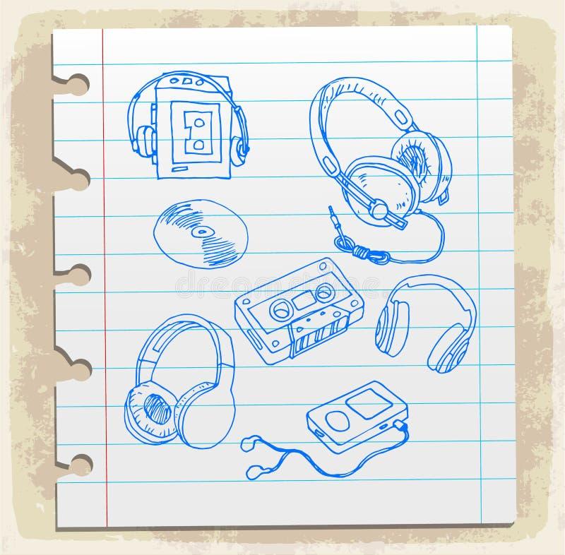 在纸笔记,传染媒介例证的动画片音乐 库存例证