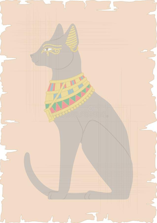 在纸莎草的埃及猫 库存例证