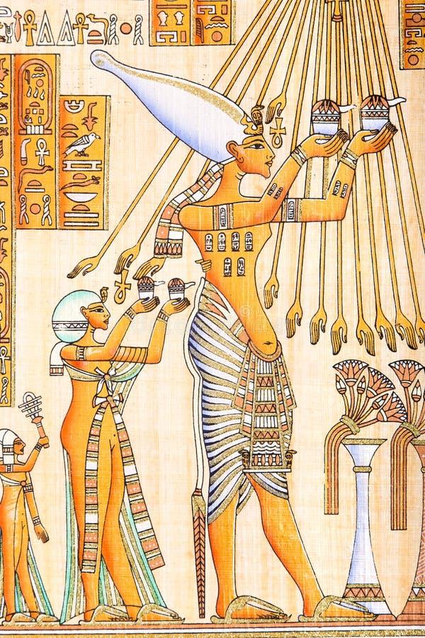 在纸莎草的埃及艺术 皇族释放例证