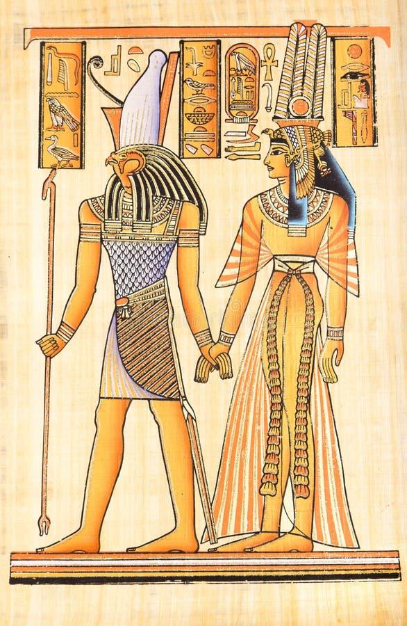 在纸莎草的埃及绘画 向量例证