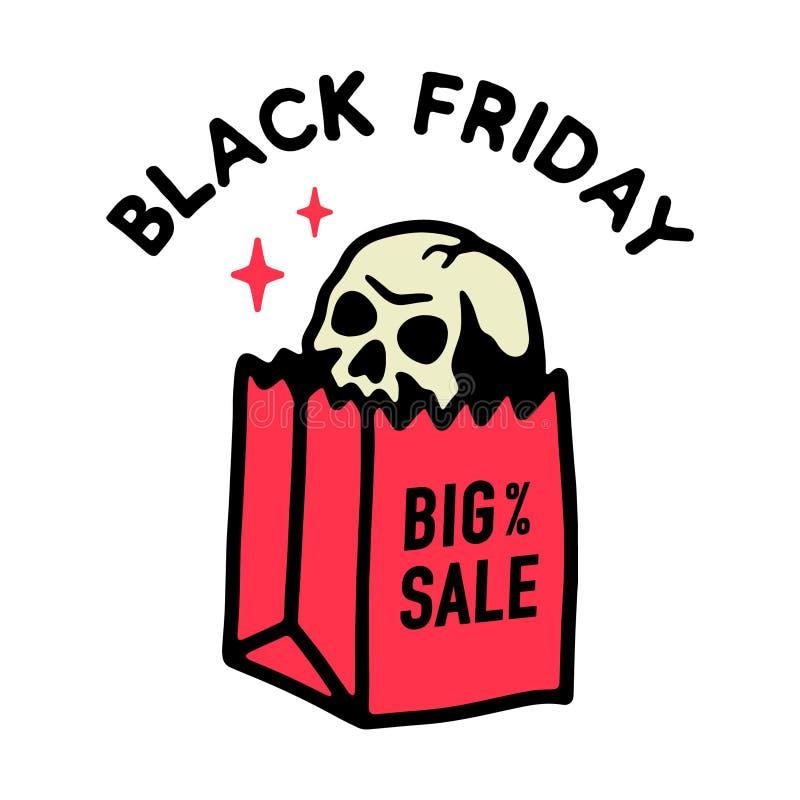 在纸袋的黑星期五大销售头骨 皇族释放例证