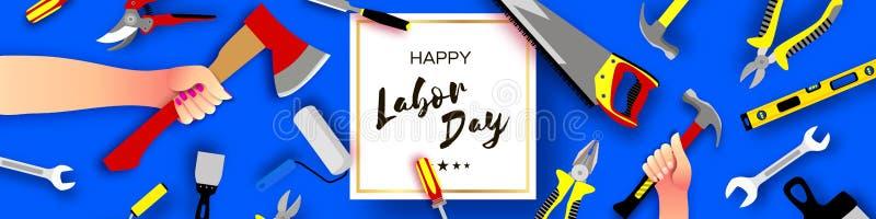 愉快的劳动节贺卡为全国,国际假日 在纸被削减的样式的手工作者夹具  皇族释放例证
