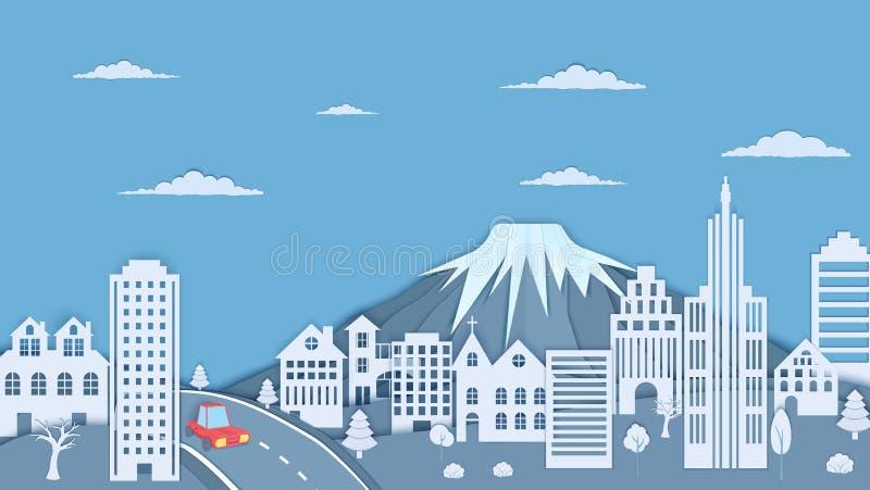 在纸被削减的样式的都市风景 山、森林风景、摩天大楼和3d红色汽车纸工艺构思设计的 皇族释放例证