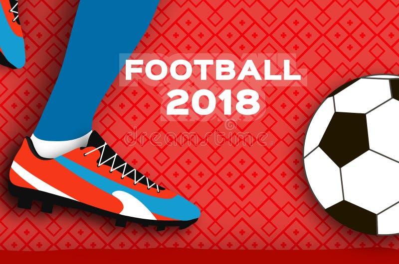 在纸裁减样式的橄榄球2018年 Origami在红色的世界冠军 橄榄球杯子 足球起动 体育运动 向量例证