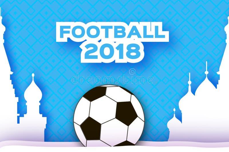 在纸裁减样式的橄榄球2018年 Origami在蓝色的世界冠军 橄榄球杯子 俄国结构 体育运动 库存例证