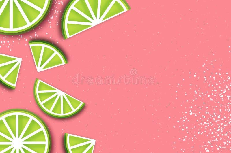 在纸裁减样式的石灰 Origami水多的成熟石灰柑橘切片 在桃红色的健康食物 夏令时 向量例证