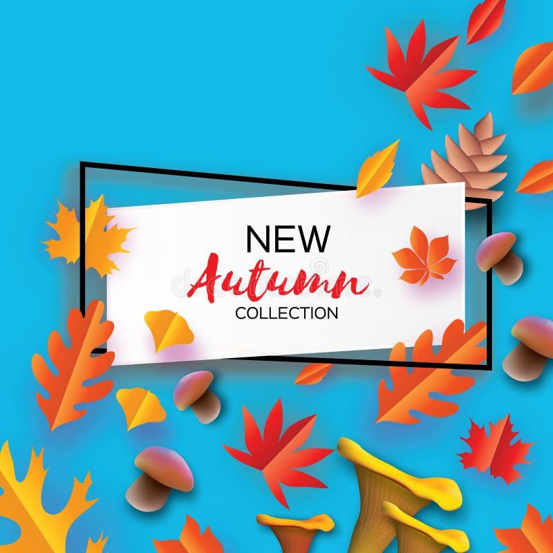 在纸裁减样式的秋天 Origami叶子,蘑菇 锥体 你好秋天 9月 10月 文本的长方形框架 皇族释放例证