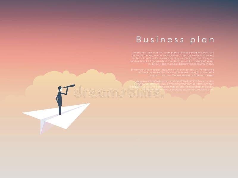 在纸飞机上的商人作为企业领导,视觉,战略,计划的标志 库存例证