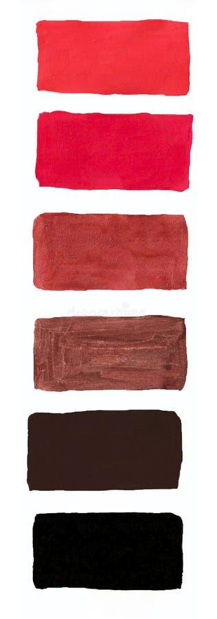 在纸,树胶水彩画颜料,所有颜色o调色板的水彩颜色  库存图片