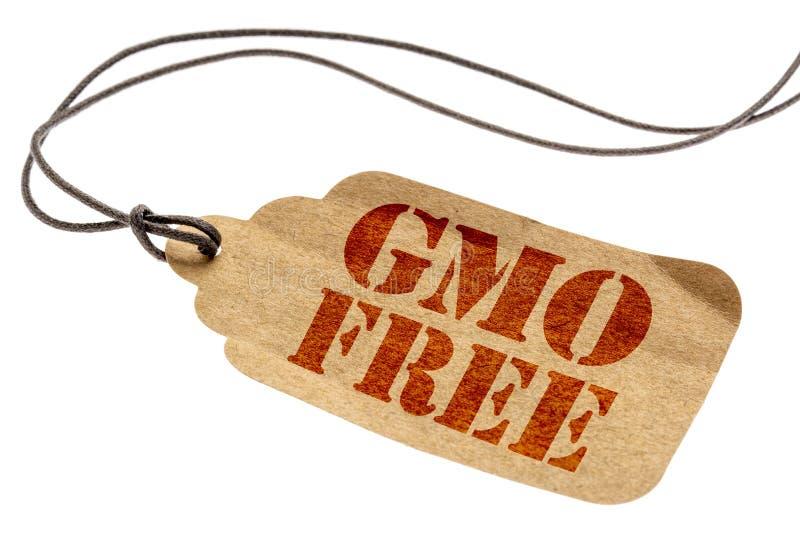 在纸价牌的GMO自由标志 免版税库存照片