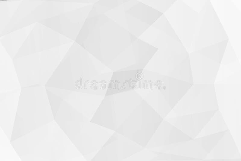 在纹理的抽象白色多角形背景 库存例证