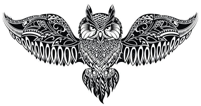 在纹身花刺样式的猫头鹰 库存例证