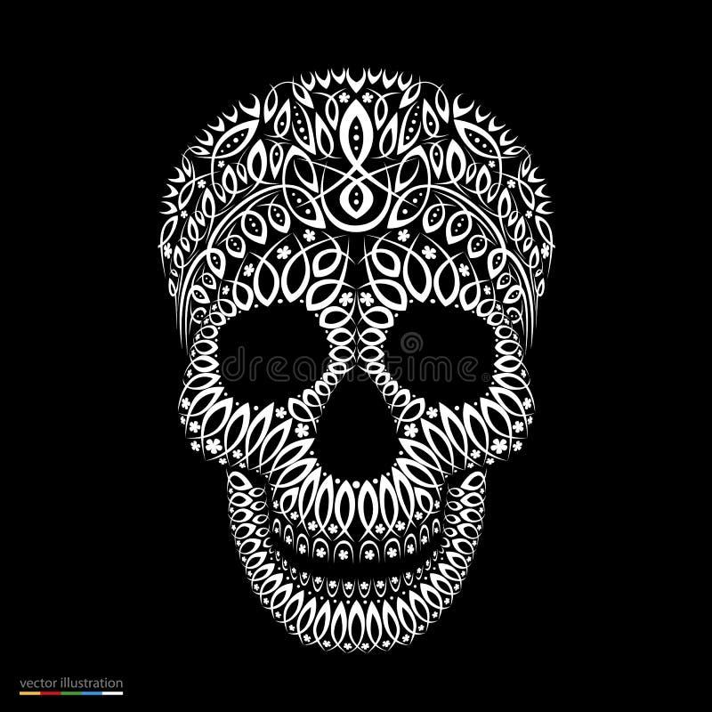 在纹身花刺样式的装饰样式头骨 皇族释放例证