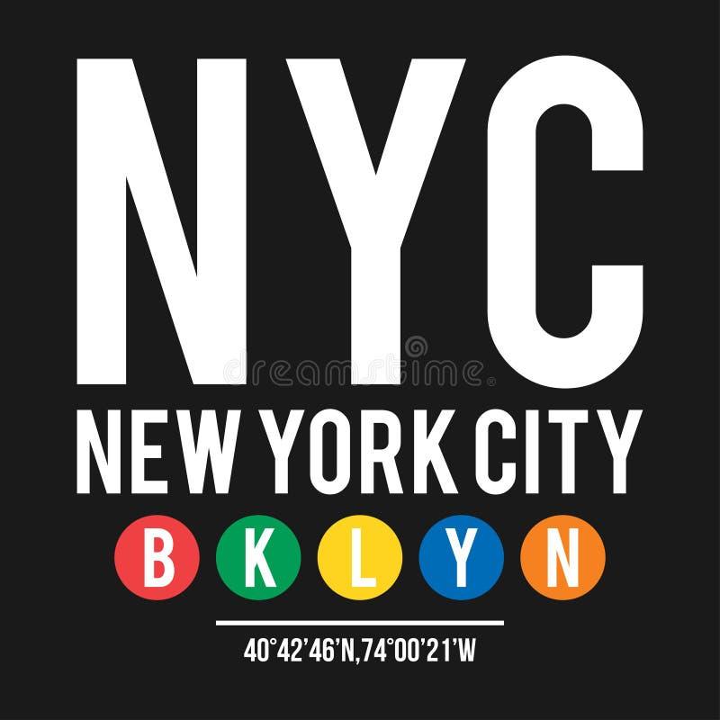 在纽约地铁的概念的T恤杉设计 与自治市镇布鲁克林的凉快的印刷术衬衣印刷品的 在u的T恤杉图表 向量例证