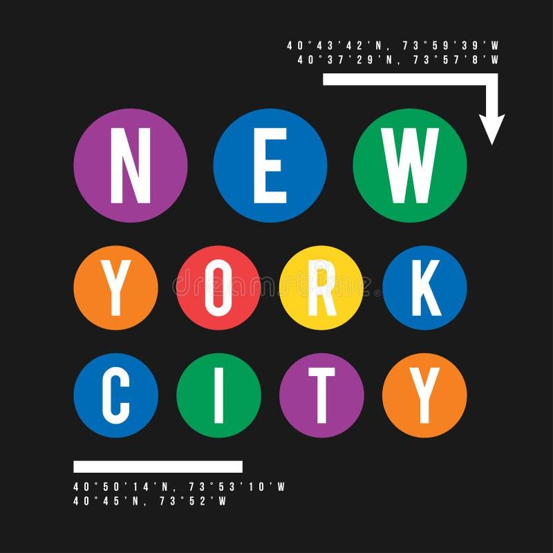 在纽约地铁的概念的T恤杉设计 与衬衣印刷品的凉快的印刷术 T恤杉图表 皇族释放例证