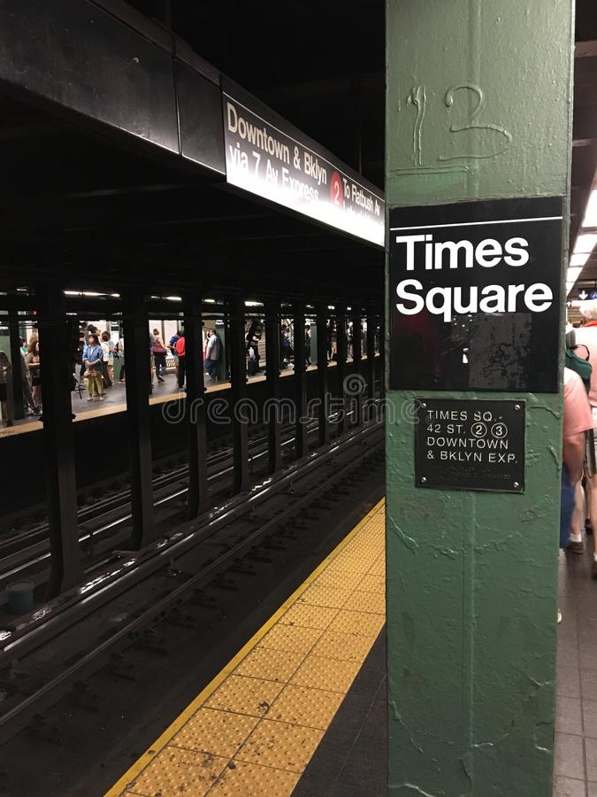 在纽约的时代广场地铁 库存图片
