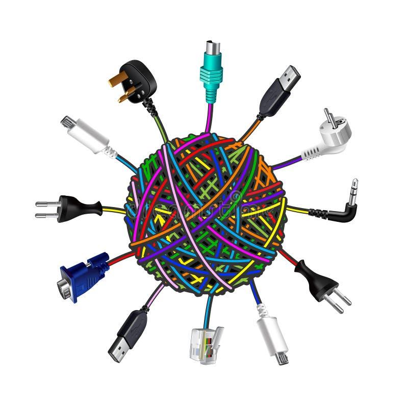 在线团的被缠结的缆绳在白色背景 向量例证