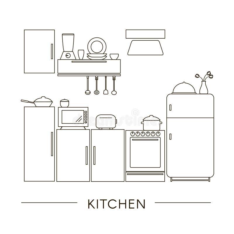 在线型的厨房内部 库存例证