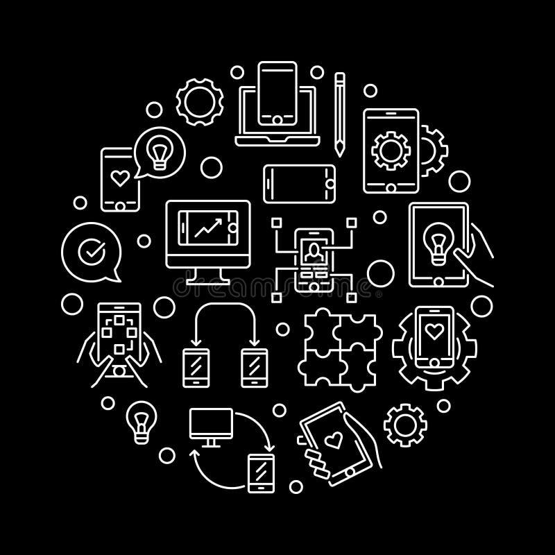 在线型的应用程序发展传染媒介圆的概念例证 库存例证