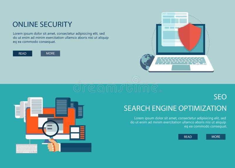 在线安全和搜索引擎优化 库存例证