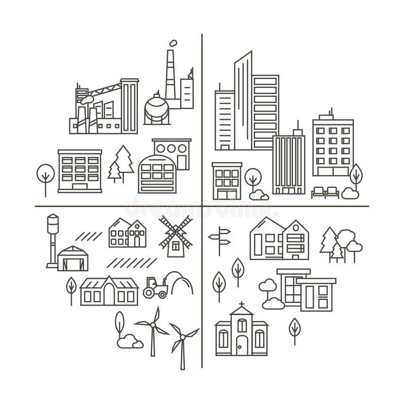 在线性样式的城市、镇和乡下例证 库存例证