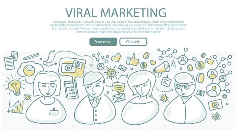 在线性样式的病毒营销横幅 向量 向量例证