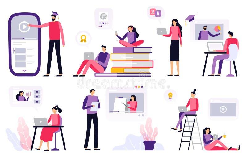 在线教育 妇女和人与膝上型计算机、观看的录影和介绍一起使用 向量例证
