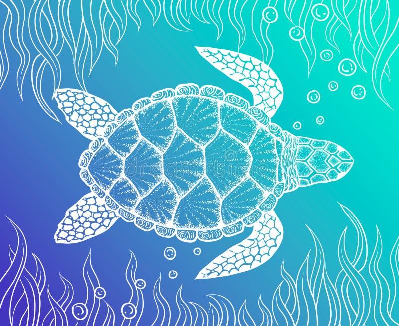 在线艺术样式的海龟 手拉的向量例证 彩图的设计 套海洋元素 库存例证