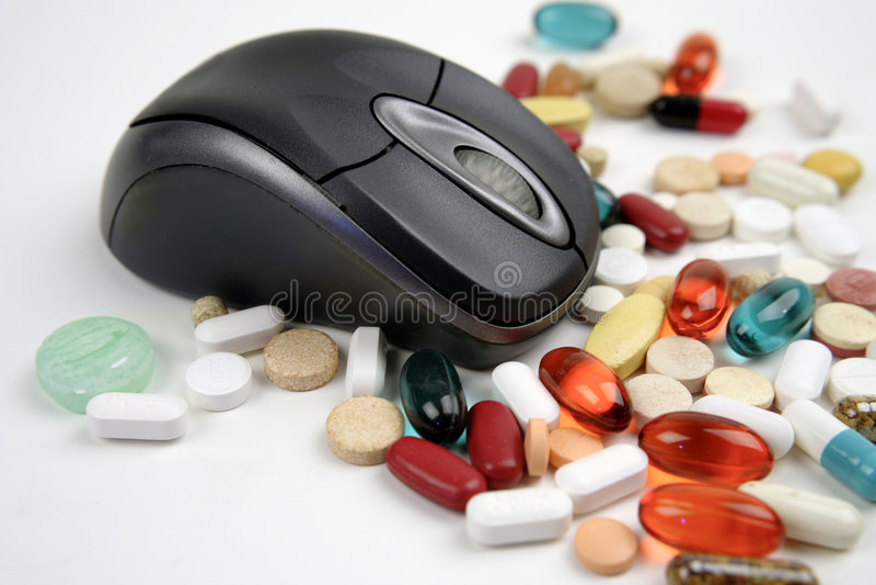 在线药片 免版税库存图片