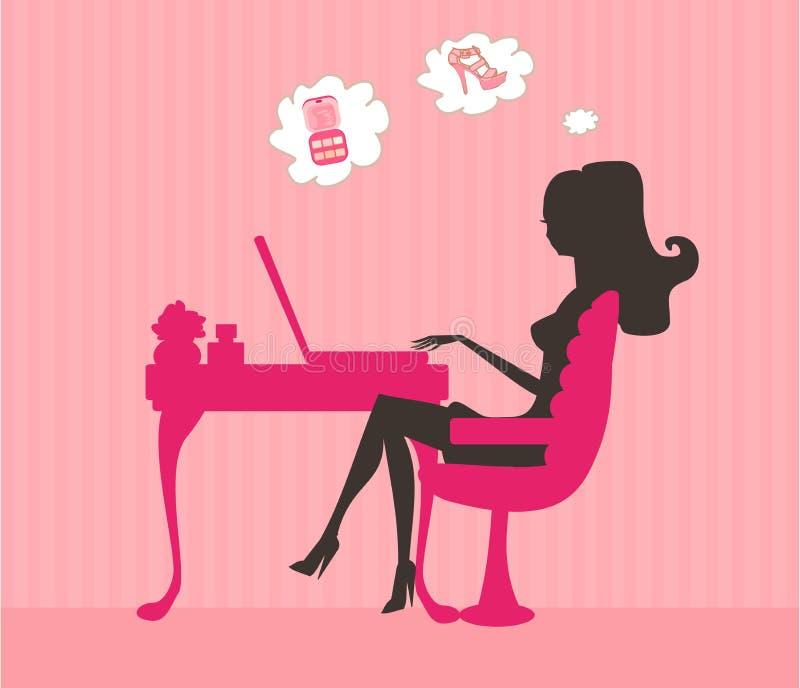 在线购物坐的微笑的妇女年轻人 皇族释放例证