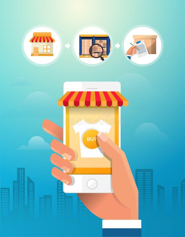 在线购物概念 背景银行现有量藏品注意smartphone 被设置的图标 平的传染媒介例证 皇族释放例证