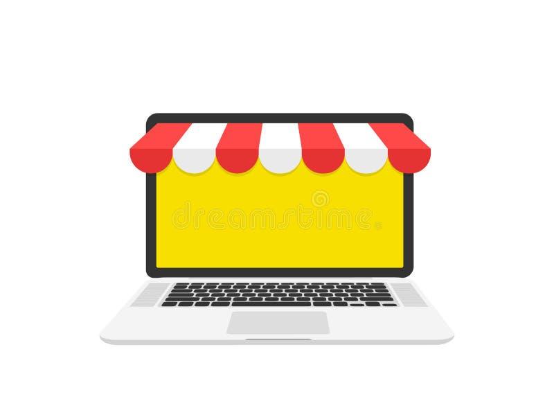 在线购物概念 膝上型计算机,屏幕 图标购物 在白色背景隔绝的平的样式传染媒介例证 皇族释放例证