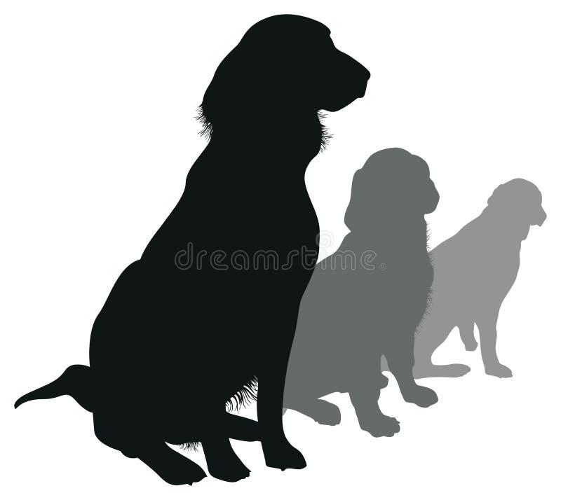 在线路的狗 库存例证