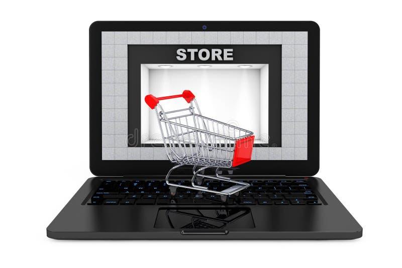 在线购物概念 在膝上型计算机的Shoppping推车有商店的B 向量例证
