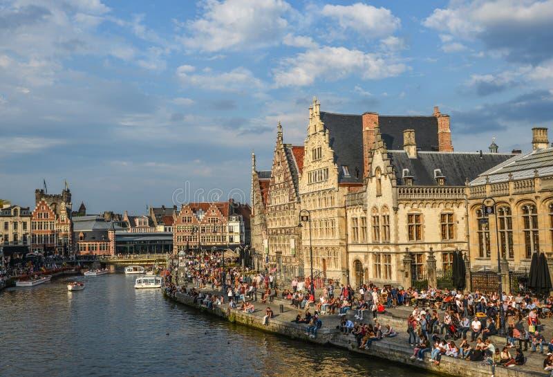 在绅士,比利时的古老大厦 库存照片