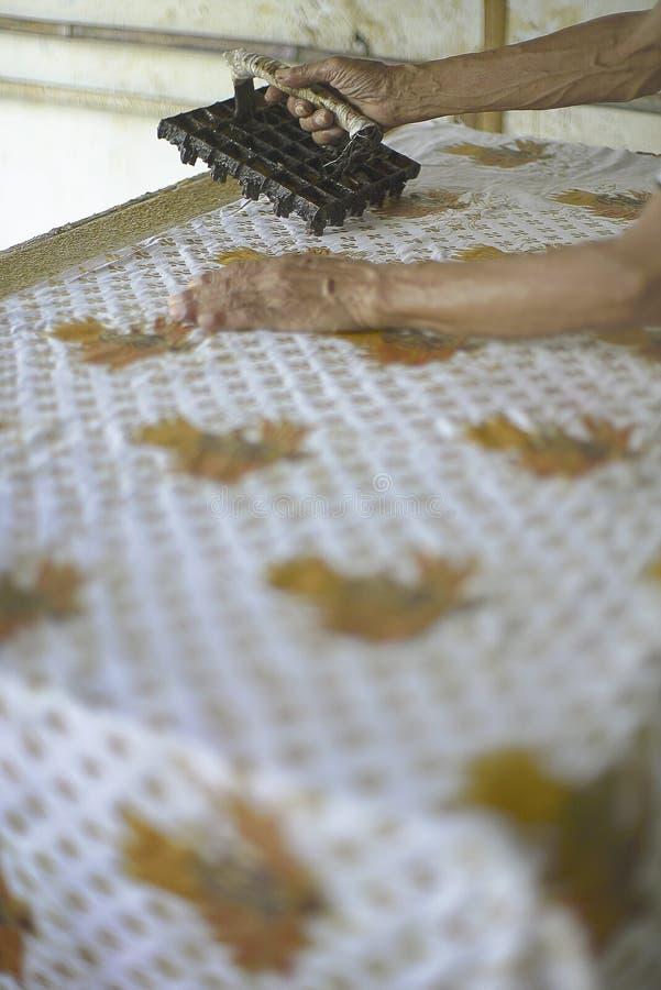 在织品的邮票蜡染布 免版税库存照片