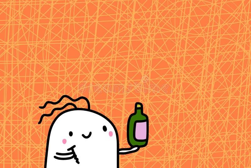 在织地不很细背景的逗人喜爱的动画片人藏品瓶和拔塞螺旋手拉的传染媒介例证 免版税库存照片
