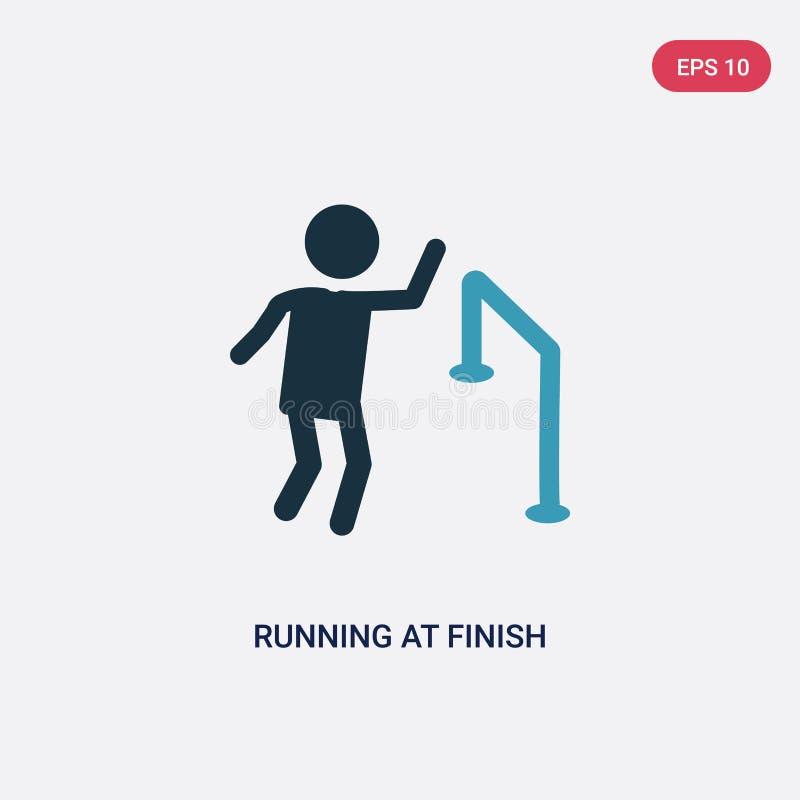 在终点线从人概念的传染媒介象的两种颜色的赛跑 在终点线传染媒介标志标志的被隔绝的蓝色赛跑可以是 库存例证