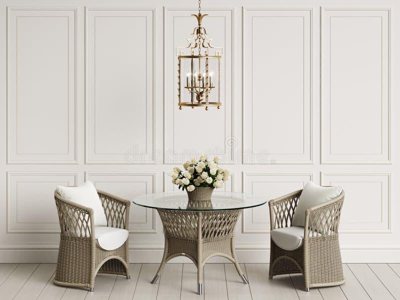 在经典内部的庭院家具 藤条椅子,桌,有玫瑰的花瓶 库存例证