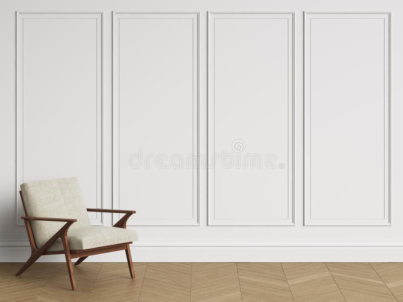 在经典内部的椅子与拷贝空间 有造型的白色墙壁 库存例证