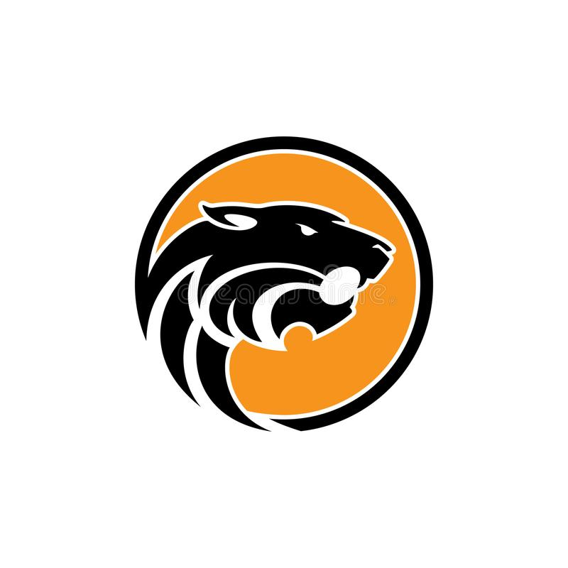 在经典图表样式的老虎坚硬的传染媒介商标概念例证 老虎顶头剪影标志 孟加拉老虎头创造性的il 向量例证