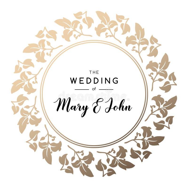 在经典样式的典雅的花卉婚礼邀请设计 边界月桂树离开橡木丝带模板向量 向量例证