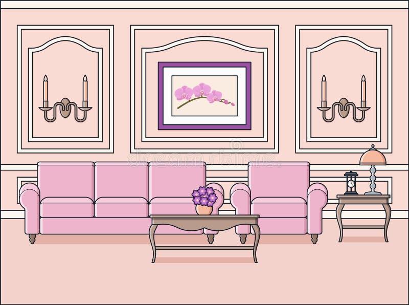 在经典样式的室内部 平的设计 也corel凹道例证向量 向量例证