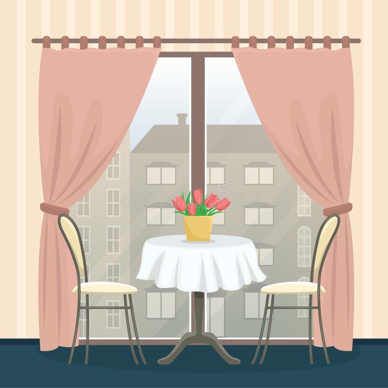 在经典样式的餐馆内部 与椅子的表在全景窗口附近 库存例证