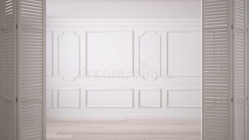 在经典空的空间的白色折叠门开头与灰泥造型和镶花地板,葡萄酒室内设计 库存图片