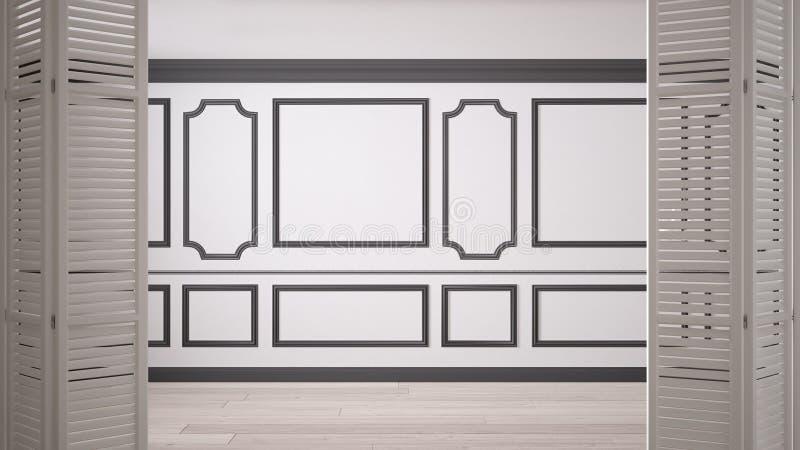 在经典空的空间的白色折叠门开头与灰泥造型和镶花地板,葡萄酒室内设计 免版税库存照片
