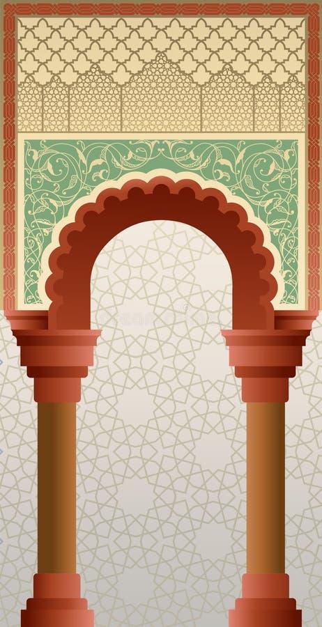 在经典颜色的摩洛哥门门面 库存例证